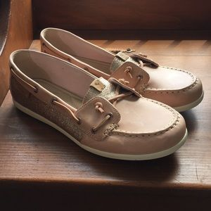 Women's Tan Sparkly Sperry's Size 8.5